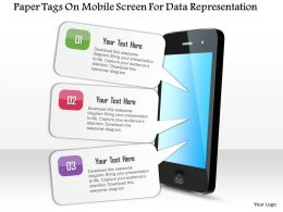 0115 Paper Tags On Mobile Screen For Data Representation PowerPoint Template