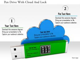 0115 Pen Drive With Cloud And Lock Image Graphic For Powerpoint