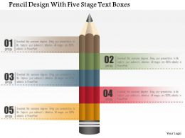 0115 Pencil Design With Five Stage Text Boxes Powerpoint Template