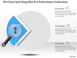 0115 Pie Chart And Magnifier For Performance Indication Powerpoint Template