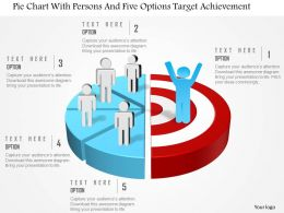 0115 Pie Chart With Persons And Five Options Target Achievement Powerpoint Template