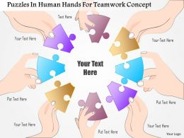 0115 Puzzles In Human Hands For Teamwork Concept Powerpoint Template