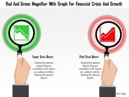 0115 Red And Green Magnifier With Graph For Financial Crisis And Growth Powerpoint Template