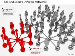 0115 Red And Silver 3d People Networks Ppt Graphics Icons