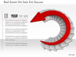 0115 Red Arrow On Stair For Success Image Graphics For Powerpoint