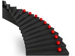 0115 Red Balls On Black Stairs Stock Photo