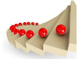 0115 Red Balls On Stairs For Success Stock Photo