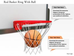 0115 Red Basket Ring With Ball Image Graphics For Powerpoint