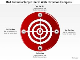 0115 Red Business Target Circle With Direction Compass PowerPoint Template
