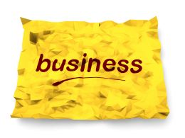 0115 Red Business Text On Yellow Paper Stock Photo