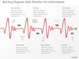 0115 Red Ecg Diagram Style Timeline For Achievement Powerpoint Template
