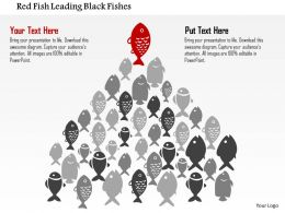 0115 Red Fish Leading Black Fishes PowerPoint Template