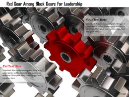 0115 Red Gear Among Black Gears For Leadership Image Graphic For Powerpoint