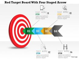 0115 Red Target Board With Four Staged Arrow Powerpoint Template