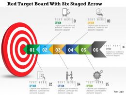 0115 Red Target Board With Six Staged Arrow Powerpoint Template