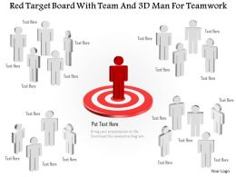 0115 Red Target Board With Team And 3d Man For Teamwork Powerpoint Template