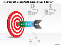 0115 Red Target Board With Three Staged Arrow Powerpoint Template