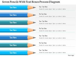 0115 Seven Pencils With Text Boxes Process Diagram Powerpoint Template