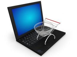 0115 Shopping Trolley On Laptop Stock Photo