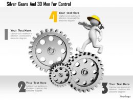 0115 Silver Gears And 3d Men For Control Ppt Graphics Icons