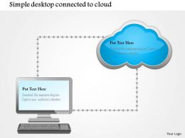 0115 Simple Desktop Conntected To Cloud Ppt Slide
