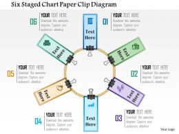 0115 Six Staged Chart Paper Clip Diagram Powerpoint Template