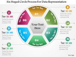 0115 Six Staged Circle Process For Data Representation Powerpoint Template