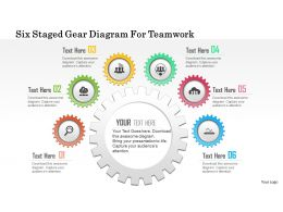 0115 Six Staged Gear Diagram For Teamwork Powerpoint Template