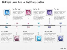 0115 Six Staged Linear Flow For Text Representation Powerpoint Template