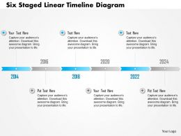 0115 Six Staged Linear Timeline Diagram Powerpoint Template
