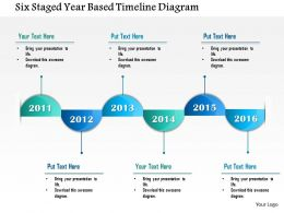 0115 Six Staged Year Based Timeline Diagram Powerpoint Template