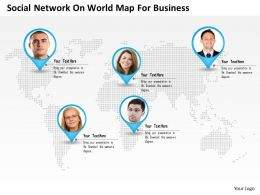 0115 Social Network On World Map For Business Powerpoint Template