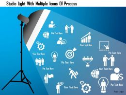 0115 Studio Light With Multiple Icons Of Process PowerPoint Template