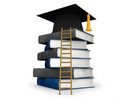 0115 Success For Graduation With Books And Ladder Stock Photo