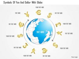 0115 Symbols Of Yen And Dollar With Globe Powerpoint Template