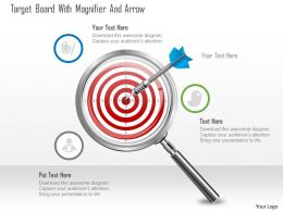 0115 Target Board With Magnifier And Arrow Powerpoint Template