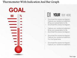 0115 Thermometer With Indication And Bar Graph Powerpoint Template
