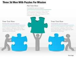 0115 Three 3d Men With Puzzles For Mission Powerpoint Template