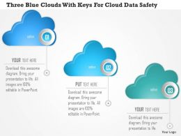 0115 Three Blue Clouds With Keys For Cloud Data Safety Powerpoint Template