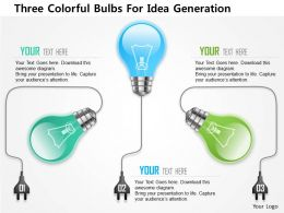 0115 Three Colorful Bulbs For Idea Generation PowerPoint Template