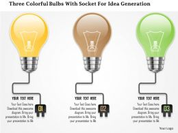 0115 Three Colorful Bulbs With Socket For Idea Generation PowerPoint Template