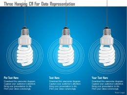 0115 Three Hanging Cfl For Data Representation Powerpoint Template