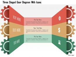 0115 Three Staged Gear Diagram With Icons Powerpoint Template
