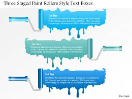 0115 Three Staged Paint Rollars Style Text Boxes Powerpoint Template