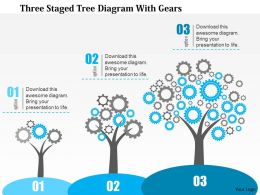 0115 Three Staged Tree Diagram With Gears PowerPoint Template