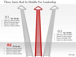 0115 Three Stairs Red In Middle For Leadership Image Graphics For Powerpoint