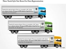 0115 Three Truck Style Text Boxes For Data Representation Powerpoint Template