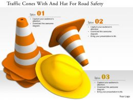 0115 Traffic Cones With And Hat For Road Safety Image Graphic For Powerpoint