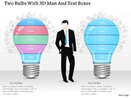 0115 Two Bulbs With 3d Man And Text Boxes Powerpoint Template