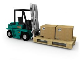 0115 Two Cartons On Green Truck Stock Photo